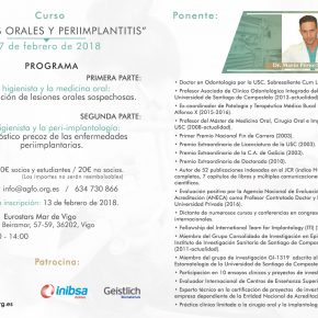 CURSO LESIONES ORALES Y PERIIMPLANTITIS. 17 DE FEBRERO DE 2018.