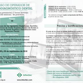 CURSO DE OPERADOR DE RADIODIAGNÓSTICO DENTAL. 28, 29 Y 30 DE SEPTIEMBRE DE 2018.