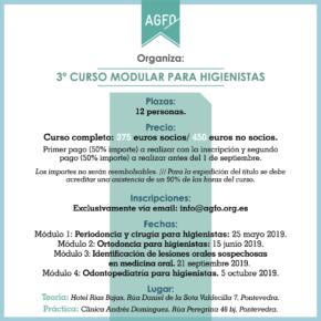 3º CURSO MODULAR PARA HIGIENISTAS. 2019.