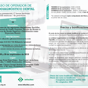 CURSO DE OPERADOR DE RADIODIAGNÓSTICO DENTAL. 27,28 Y 29 DE SEPTIEMBRE DE 2019.