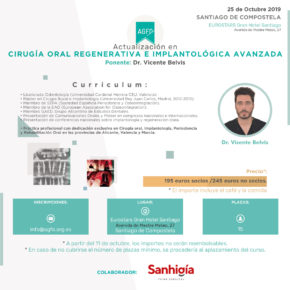 CURSO CIRUGÍA ORAL REGENERATIVA E IMPLANTOLÓGICA AVANZADA. 25 DE OCTUBRE DE 2019.