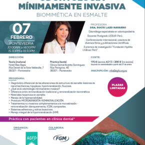 CURSO ODONTOLOGÍA MÍNIMAMENTE INVASIVA BIOMIMÉTICA EN ESMALTE. 7 DE FEBRERO DE 2020.