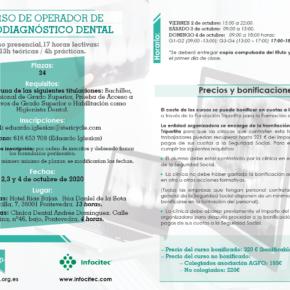 CURSO DE OPERADOR DE RADIODIAGNÓSTICO DENTAL. 2, 3 Y 4 DE OCTUBRE DE 2020.