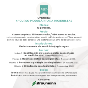 4º CURSO MODULAR PARA HIGIENISTAS. 2020.
