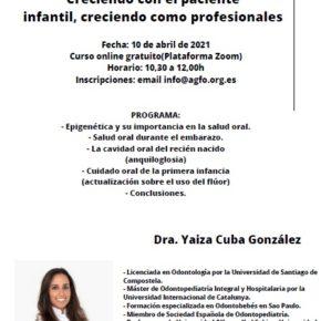 CURSO CRECIENDO CON EL PACIENTE INFANTIL, CRECIENDO COMO PROFESIONALES. 10 DE ABRIL DE 2021